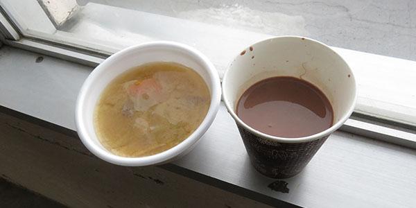 豚汁とココア